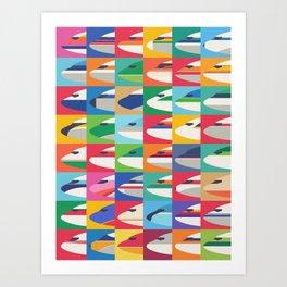 Retro Airline Nose Livery Design - Grid Small Art Print