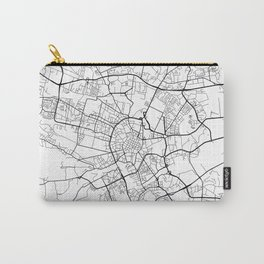 Krakow Map, Poland - Black and White Carry-All Pouch