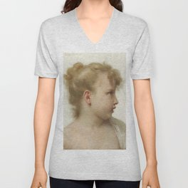 """William-Adolphe Bouguereau """"Etude: tête de petite fille (visage de profil)"""" Unisex V-Neck"""