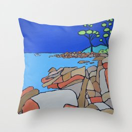Bay of Fires Tasmania  Ocean Beach Throw Pillow