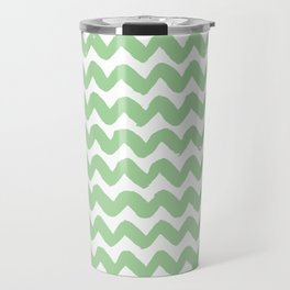 Mint Brushstroke Chevron Pattern Travel Mug