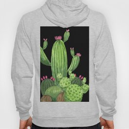 Flowering Cactus Bunch on Black Hoody