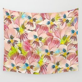 Abundance Of Pink Pansies Wall Tapestry