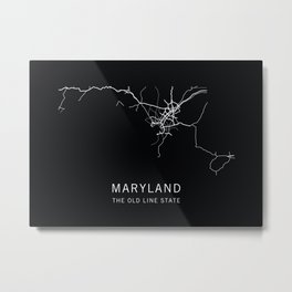 Maryland State Road Map Metal Print