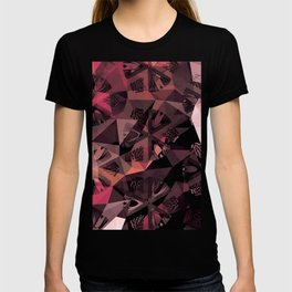 Lavender Red Brown Abstract Geometric Triangle Polygon Seedpod  Illustration T-shirt