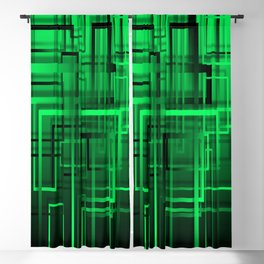 Black and green abstract Blackout Curtain