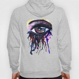 Rainbow eye splashing watercolor and ink Hoody