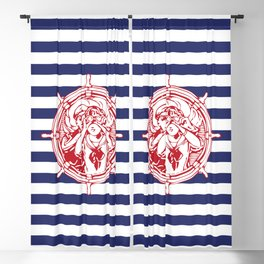 Sail Away With Me | Sailing Couple | Nautical | Blue and White Stripes | Blackout Curtain