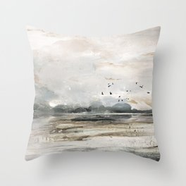 Seascape Sunset Painting Throw Pillow