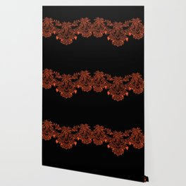 Vintage Lace Hankies Black and Flame Wallpaper