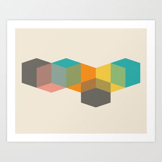 Color Study Cubes Art Print