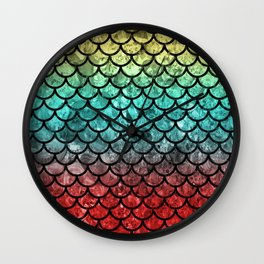 Gold/Blue/Red Dragon Scales Wall Clock