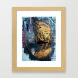 Melody: a vibrant, colorful abstract piece in blue, purple, gold, and black Framed Art Print