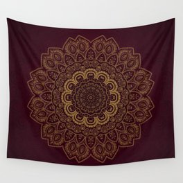 Gold Mandala on Royal Red Background Wall Tapestry