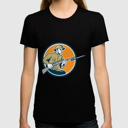 World War One Soldier American Retro Circle T-shirt