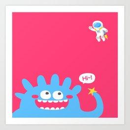 Alien say hi Art Print