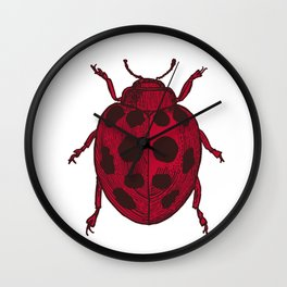Red Lady Bug - white background Wall Clock