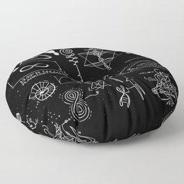 Dark Grid Work Floor Pillow