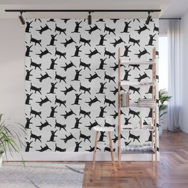 Cats Black on White Wall Mural
