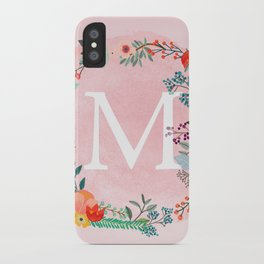 Flower Wreath with Personalized Monogram Initial Letter M on Pink Watercolor Paper Texture Artwork iPhone Case