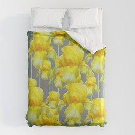 OODLES OF YELLOW IRIS GREY GARDEN ART Duvet Cover