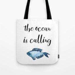 The ocean is calling / blue fish watercolor Tote Bag