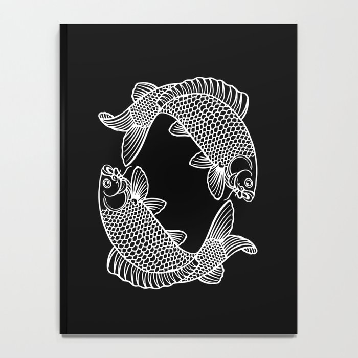 Black White Koi Notebook
