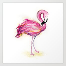 Isla's Flamingo Art Print