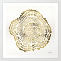 pen Art Prints featuring Gold Tree Rings by Cat Coquillette
