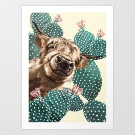 Sneaky Highland Cow and Cactus in yellow Art Print