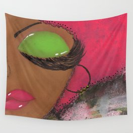 Pink and Green Sassy Girl Wall Tapestry
