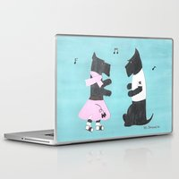 50s Laptop & iPad Skins featuring Back to the 50s - Scottish Terriers by Mary Louise Simmons