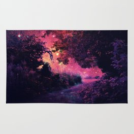 fantasy path Deep Magenta Burgundy Rug
