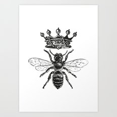 Queen Bee   Black and White Art Print