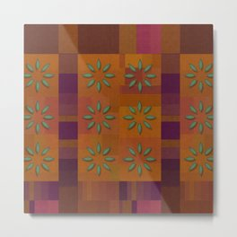 """Retro Squares & Flowers"" Metal Print"