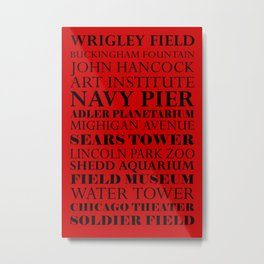Chicago Landmarks, red and black Metal Print