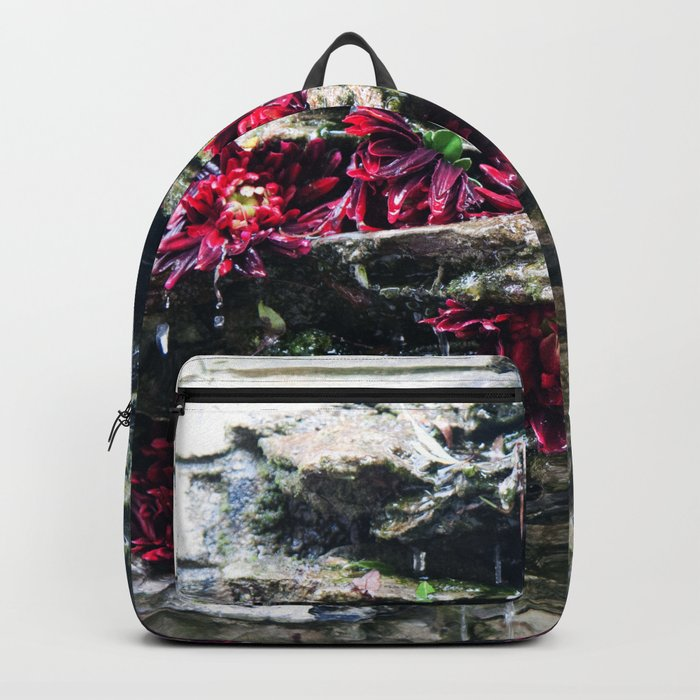 Stone Fountain with Red Flowers #1 #art #society6 Backpack