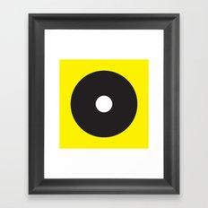 White dot on black on yellow Framed Art Print