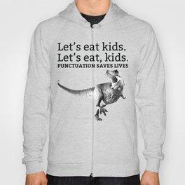 T Rex Punctuation Joke Let's Eat, Kids Hoody