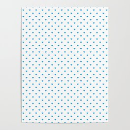 Oktoberfest Bavarian Blue Mini Love Hearts on White Poster