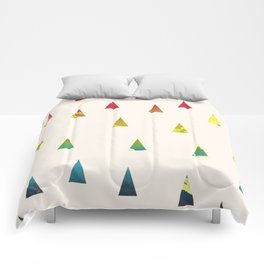 Geometrical pink yellow teal blue watercolor ombre triangles Comforters