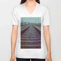 russia V-neck T-shirts featuring Railroad. Russia. by Slava Joukoff
