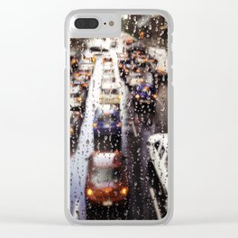 Rainy Rush Hour Clear iPhone Case