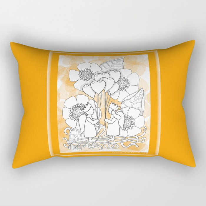 Kids with Hearts of Gold A Zentangle Illustration for Children Rectangular Pillow