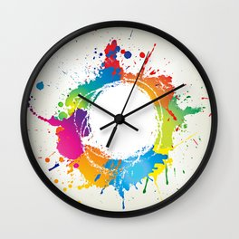 Abstract grunge background with paint splats Wall Clock