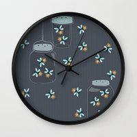 fireflies Wall Clocks featuring Fireflies by Badger & Bee