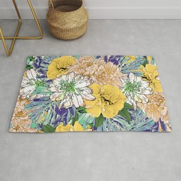 Trendy Yellow & Green Floral Girly Illustration Rug