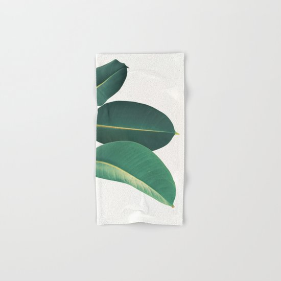 rubber fig leaves ii hand bath towel by cassia beck