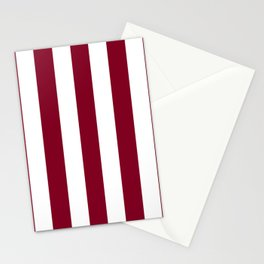 Oxblood red - solid color - white vertical lines pattern Stationery Cards