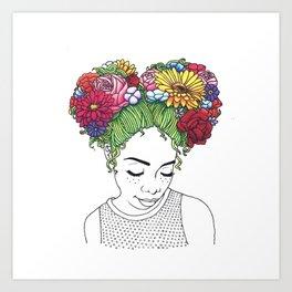 Flowered Hair Girl Art Print